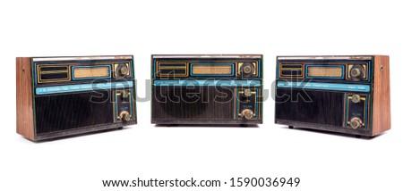 Vintage radio set isolated on white background. Retro old radio Stock photo ©