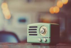 Vintage radio with vintage background ,copy space
