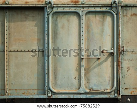 Vintage railroad containner doors with rusty and old color.