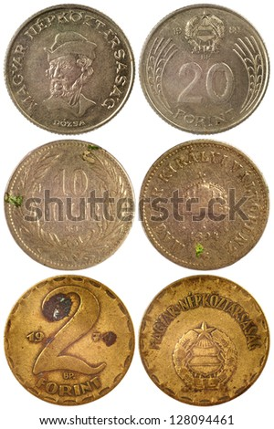 vintage rare coins of hungary isolated on white background