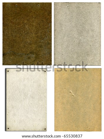 Vintage Real Cardboard Set Isolated On White Background