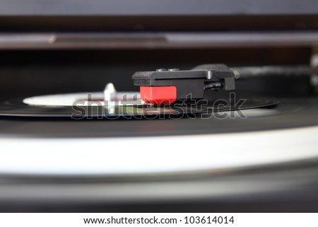 Vintage record player, close up of the stylus