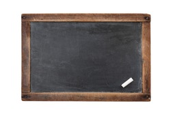 Vintage rectangular chalkboard with chalk isolated on white background