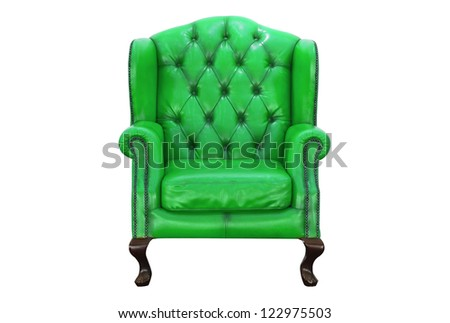 vintage red armchair on white background