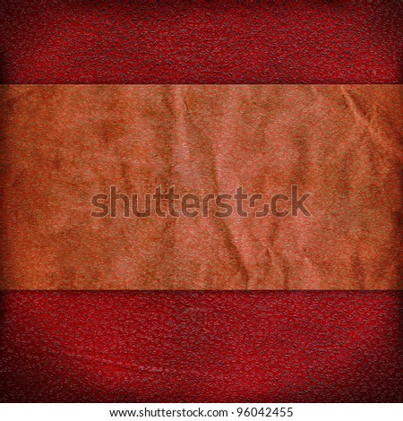 Vintage red background with a strip of crumpled paper and grunge stains.