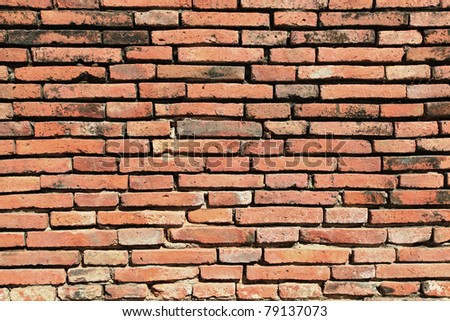 vintage red brick wall background from temple wall