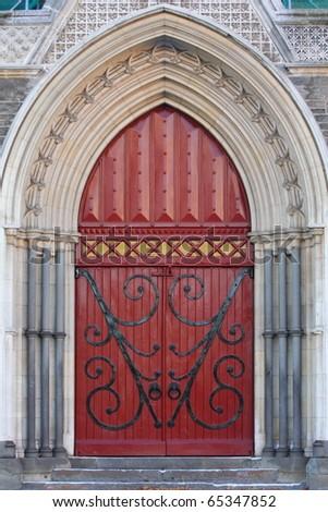 Vintage Red Church Door