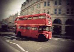 Vintage red double decker bus in London
