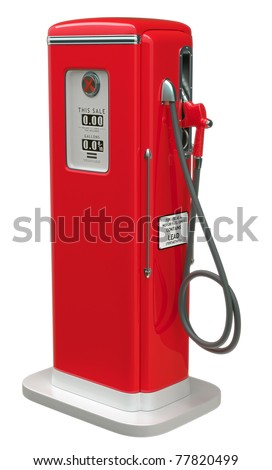 Vintage Red fuel pump isolated over white background. Side view - stock photo