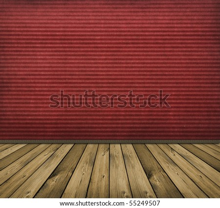 vintage red interior with wooden floor