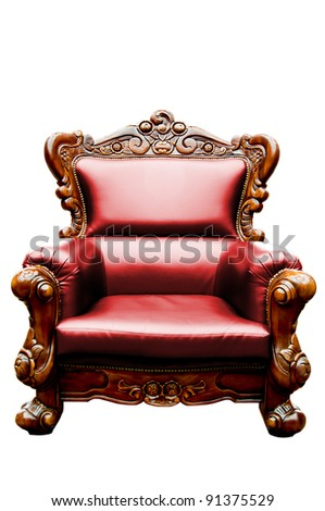vintage red luxury leather armchair isolated
