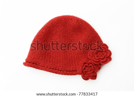 Vintage Red Orange Wool knit Hat Cap with Two Embroidered Flowers