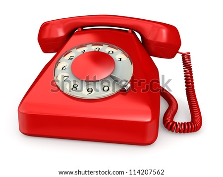 Vintage red phone - isolated over white background