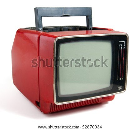 Vintage red portable TV set. Clipping path included. - stock photo
