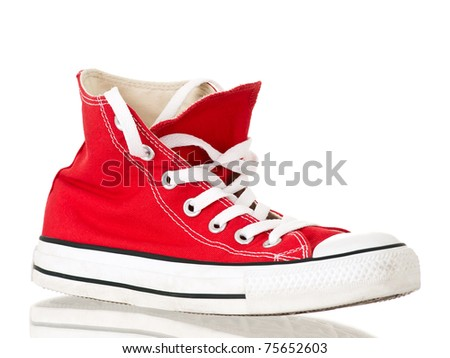 Vintage red shoe side view on pure white background
