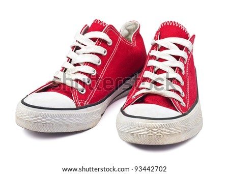 vintage red shoes on white background #93442702