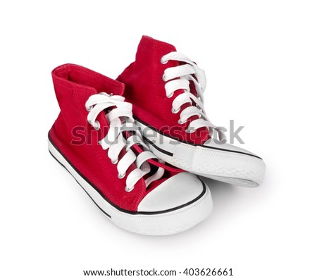 vintage red sneakers isolated on white background #403626661
