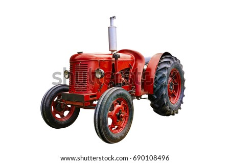 Vintage red tractor, isolated on white background. #690108496