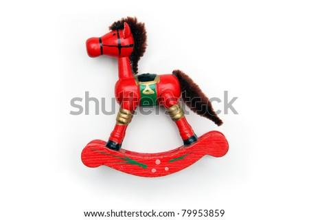 Vintage Red Wooden Rocking Horse Ornament