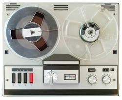 vintage reel to reel tape recorder, open reel audio recorder. Isolated on white, nostalgic audio gear