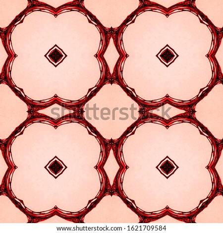 Vintage Repeat Lace Pattern. Old Mosaic tile. Ethnic Ornament Print. Natural Colors. Dressing element Antique Element Hand Painted Kaleidoscope Effect. Floral Elements Floral Elements
