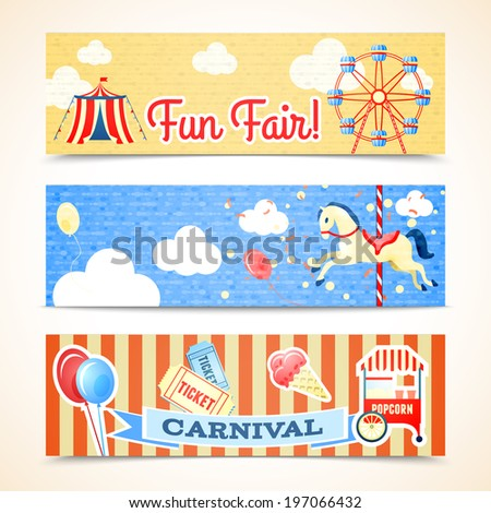 Vintage retro carnival fun fair vertical banners isolated  illustration