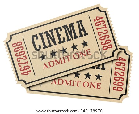Vintage retro cinema creative concept: pair of retro vintage cinema admit one tickets made of yellow textured paper isolated on white background, closeup view, 3d illustration