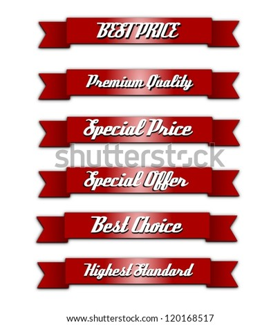 Vintage, retro, isolated quality ribbons.