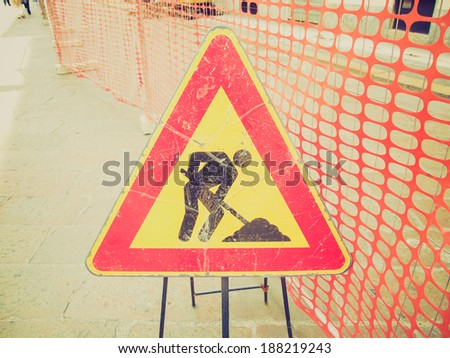 Vintage retro looking Road works sign for construction works in progress