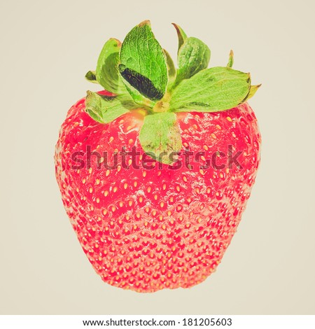 Vintage retro looking Strawberry fruit healthy vegetarian cuisine food - isolated over white background