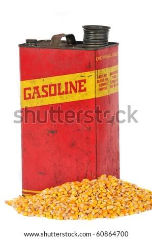 Vintage retro metallic fuel container gasoline or corn ethanol