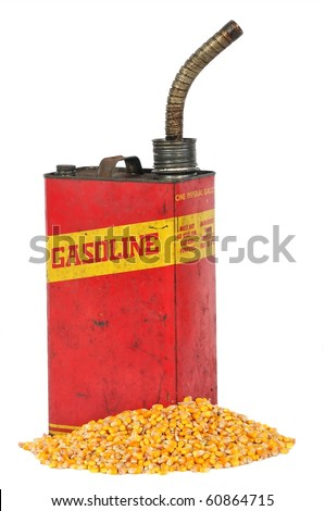 Vintage retro metallic fuel container gasoline or corn ethanol