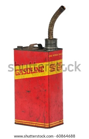 Vintage retro metallic fuel container isolated on white