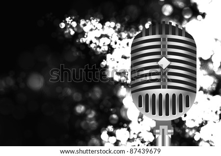 vintage retro microphone on stage