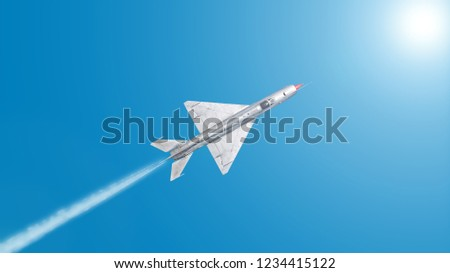 Vintage retro military fighter bomber jet airplane in silver color flying isolated on blue sky background aerial top down landscape panorama view air travel aviation abstract army war theme
