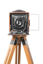 vintage retro photo camera, isolated on white background