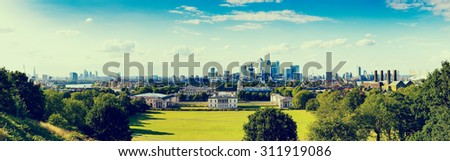 VINTAGE/RETRO PHOTO FILTER EFFECT: Panorama Cityscape of London, England, UK