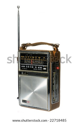 Vintage retro portable radio isolated on white background