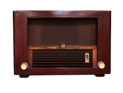 Vintage retro radio in the 1950s is a beautiful analog radio design made of wood, giving a classic luxury feeling for listening to music. As home decor.