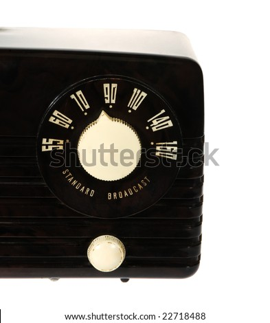 Vintage retro radio isolated on white background