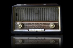 Vintage, retro radio on black background , Isolate.