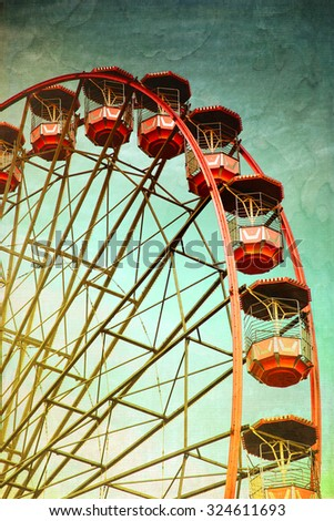 vintage retro red ferris wheel. ...