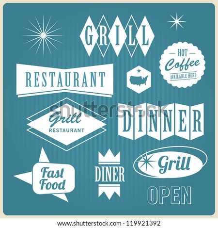 Vintage retro restaurant signs, badges and labels