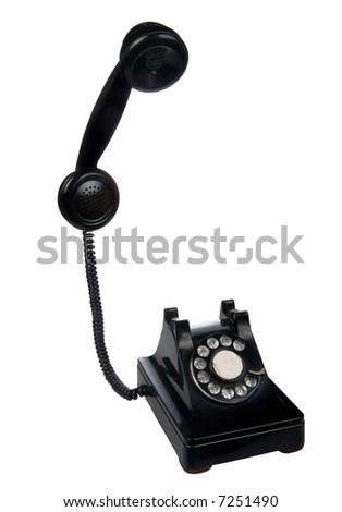 Vintage retro rotary telephone on white background