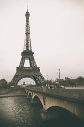 Vintage retro style.  Architecture of Paris .France. Europe