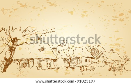 Vintage, retro style illustration of beautiful winter village illustration