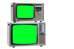 Vintage Retro Style old television with cut out screen, old television on isolated background. Television with green screen.