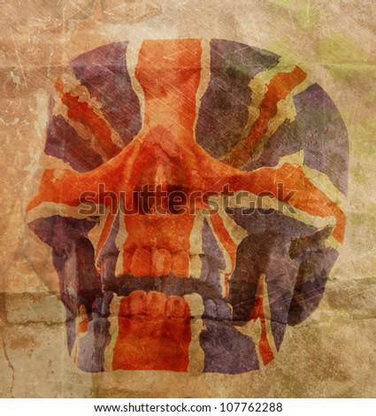 vintage retro style skull England flag