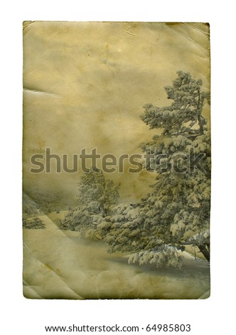 Vintage retro style winter christmas photo, isolated