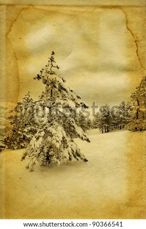 Vintage retro style winter landscape christmas photo